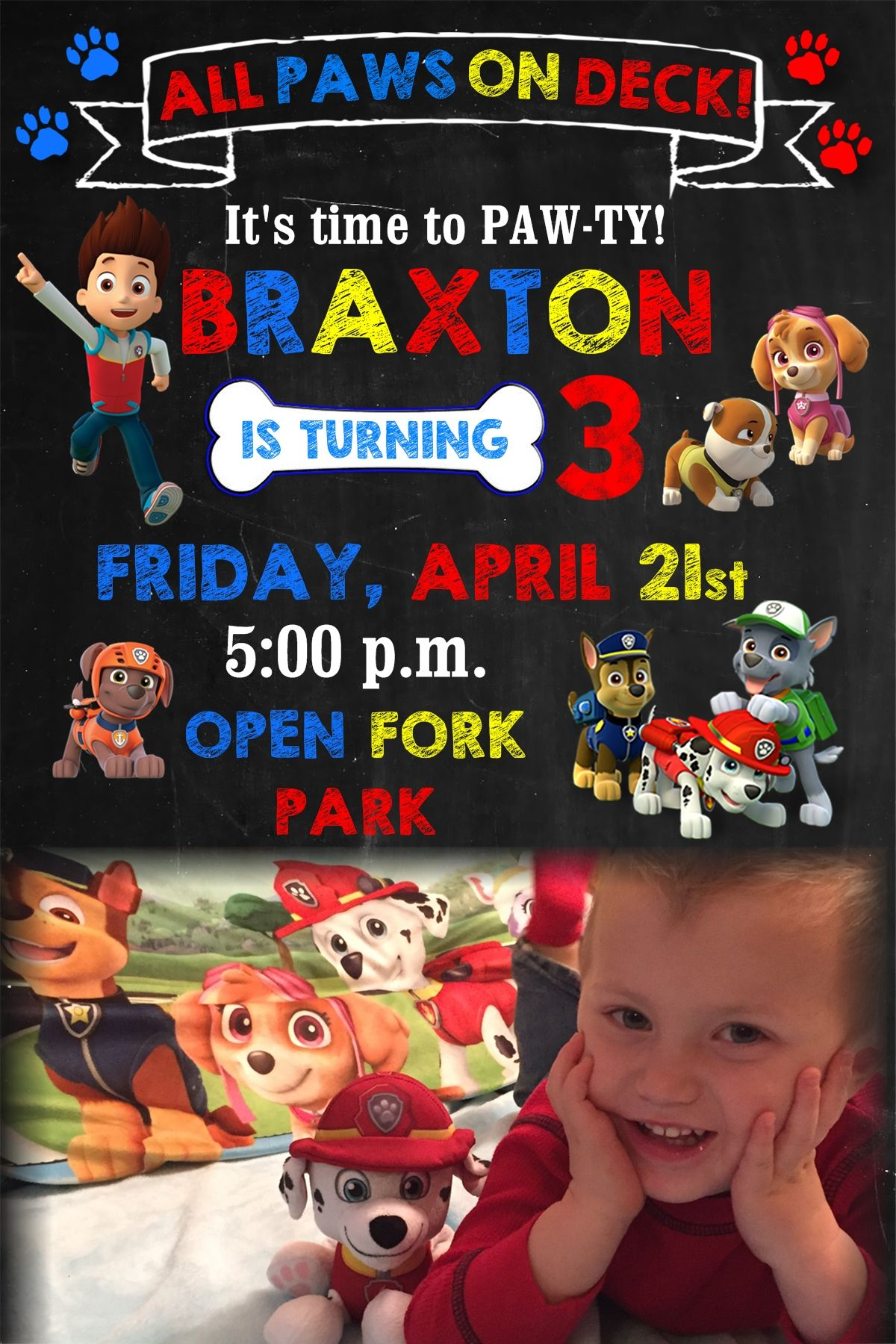 Paw Patrol First Birthday Invitation