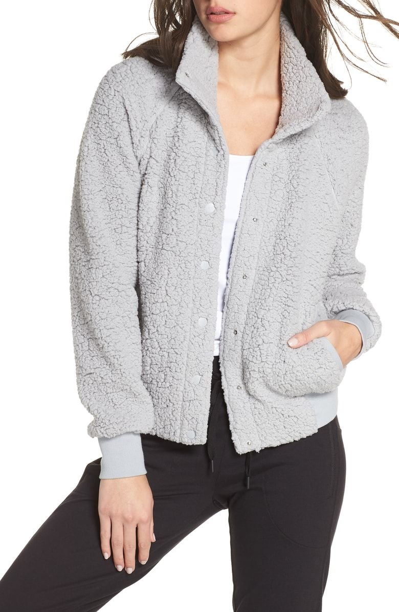 6ac200991 Free shipping and returns on Zella Cozy Up Bomber Jacket at Nordstrom.com.  This high-pile fleece jacket is true to its name and makes stepping out of  that ...
