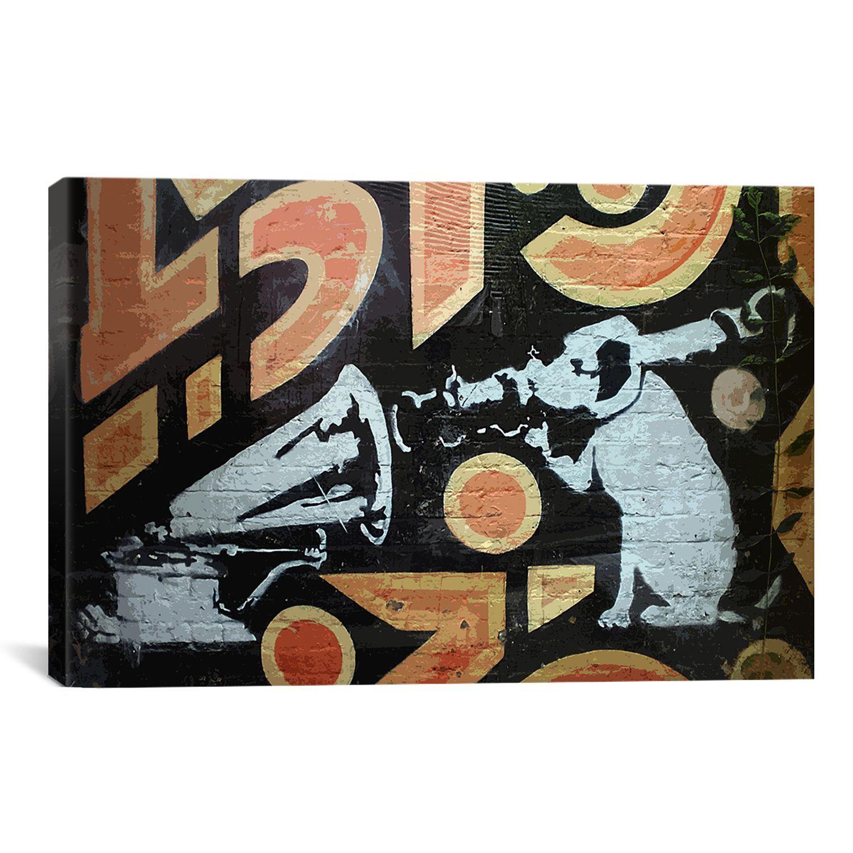 Iart banksy hmv dog with rocket gramaphone print wall art products iart banksy hmv dog with rocket gramaphone print wall art gumiabroncs Image collections