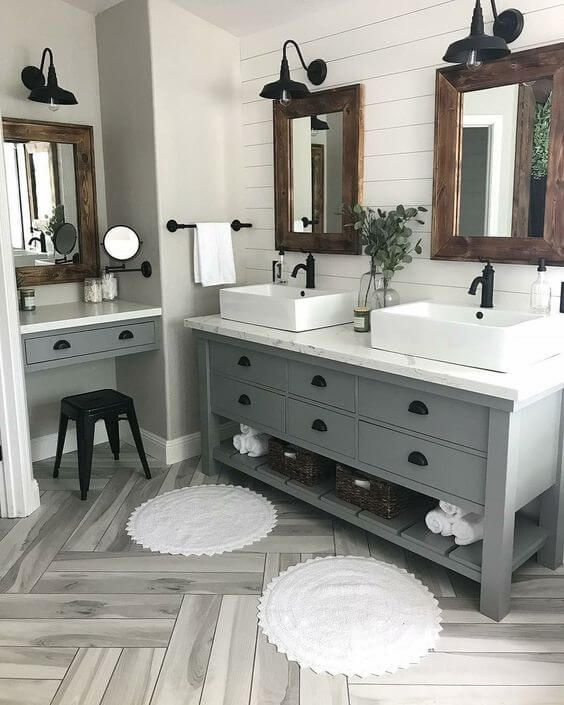 Inspiring Lighting Designs For Bathrooms Keep Your Small Bathroom Feeling Open And Bri Bathroom Remodel Master Farmhouse Master Bathroom Small Master Bathroom
