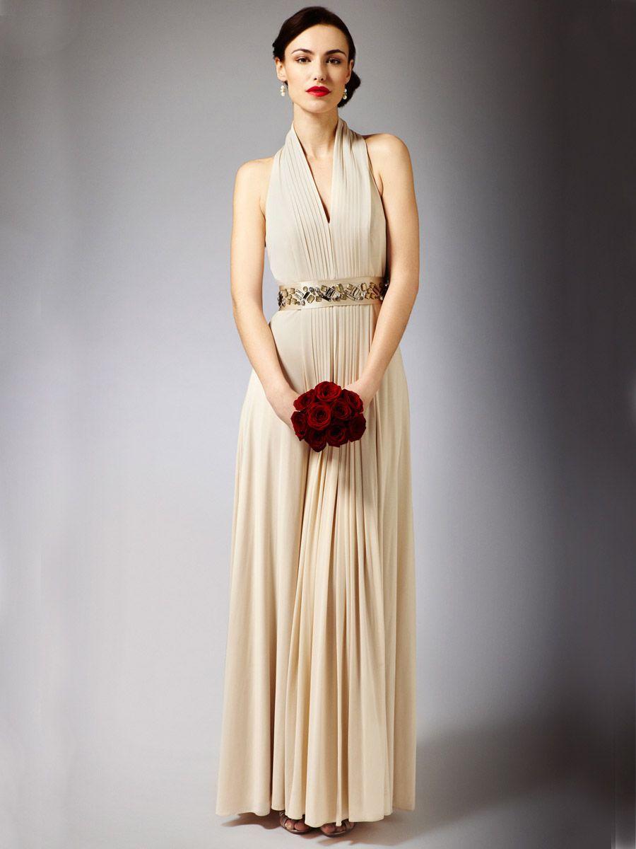 Stunning Maxi Wedding Dress With Halter Neck And Floor Length