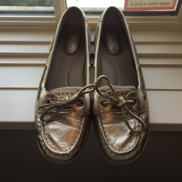 Sperry Top Sider Orange Silver Boat shoes Excellent 8.5 Casual Flats