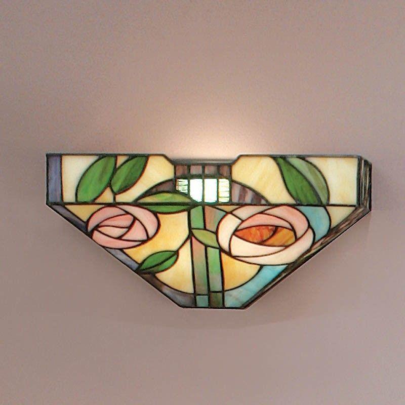 Applique Tiffany Con Fiori Rosa Sfondo Giallo Tiffany Glass Wall