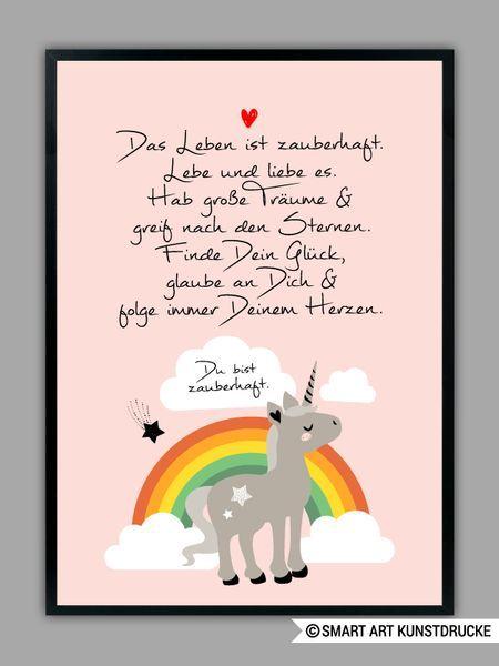 Originaldruck Regenbogen Einhorn In Rosa Kunstdruck Ein