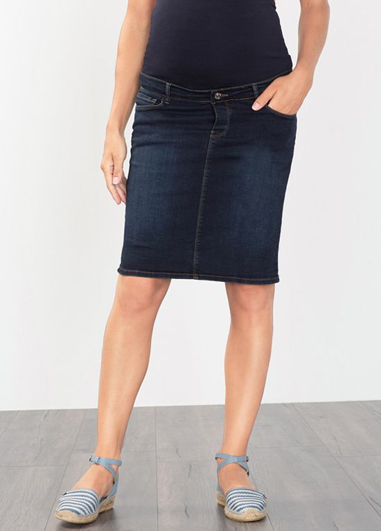 Esprit - Over Bump Denim Skirt in Dark Wash | Maternity skirt ...