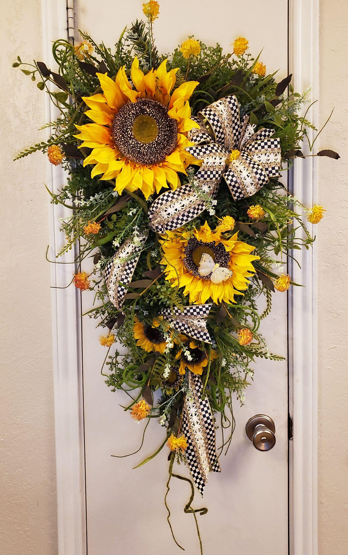 Photo of Sunflower Fall Door Decor, Autumn Wreath, Fall Decor, Sunflower Swag, Summer Swag, Sunflower Wreath, Country Swag, Rustic Wreath, Farmhouse