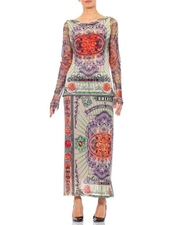 1990s JEAN PAUL GAULTIER Mesh Iconic Money Print Skirt Top Ensemble