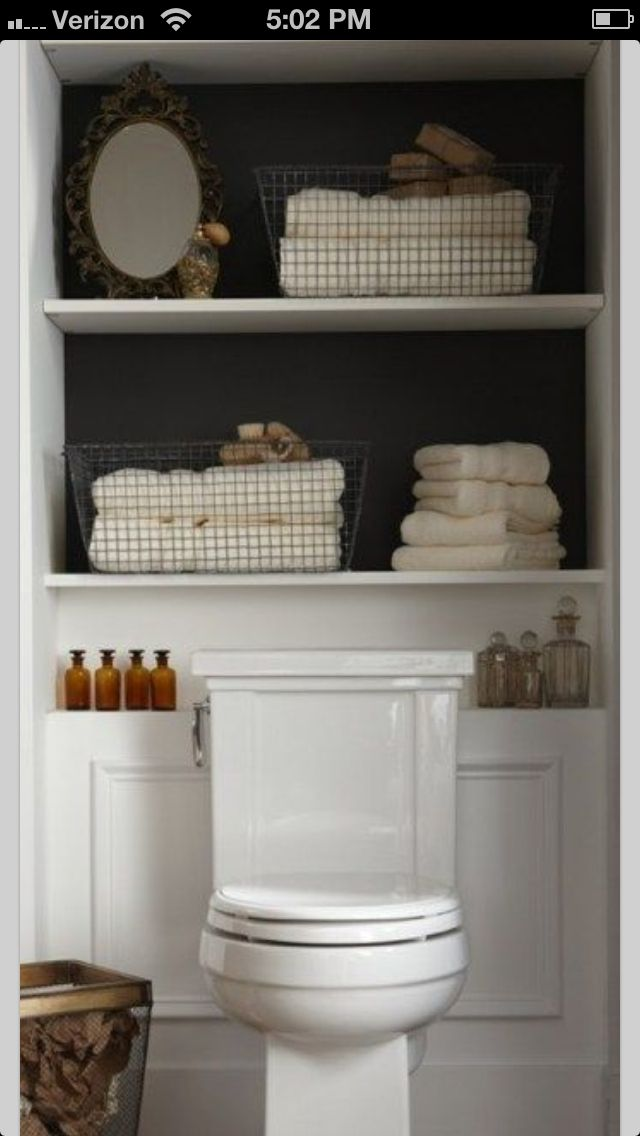 Shelving Built In Behind Toilet For The Powder Room