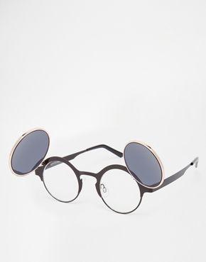 Emblem Eyewear -Womens Fonde Forme Coeur Métal Cercle Hippie Lunettes De Soleil (Noir) JYirH