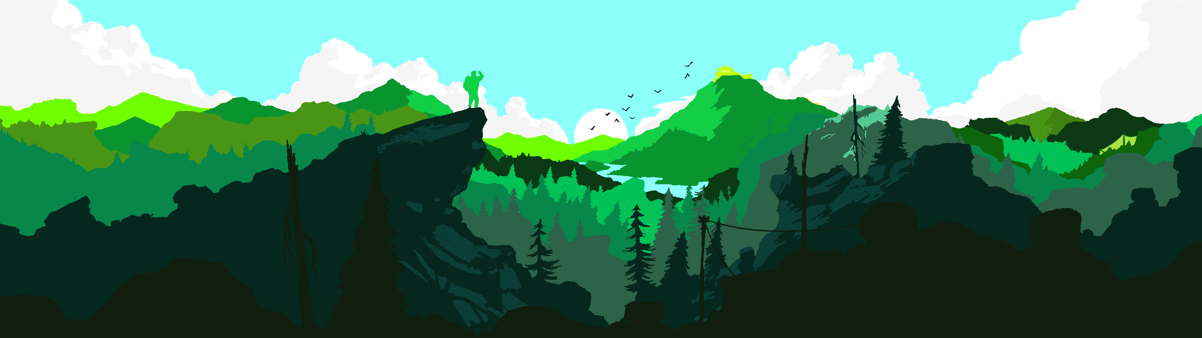 A Dual Monitor Firewatch Wallpaper I Recoloured Because I Couldn T Find It In Green Dual Monitor Wallpaper Wallpaper Recolor