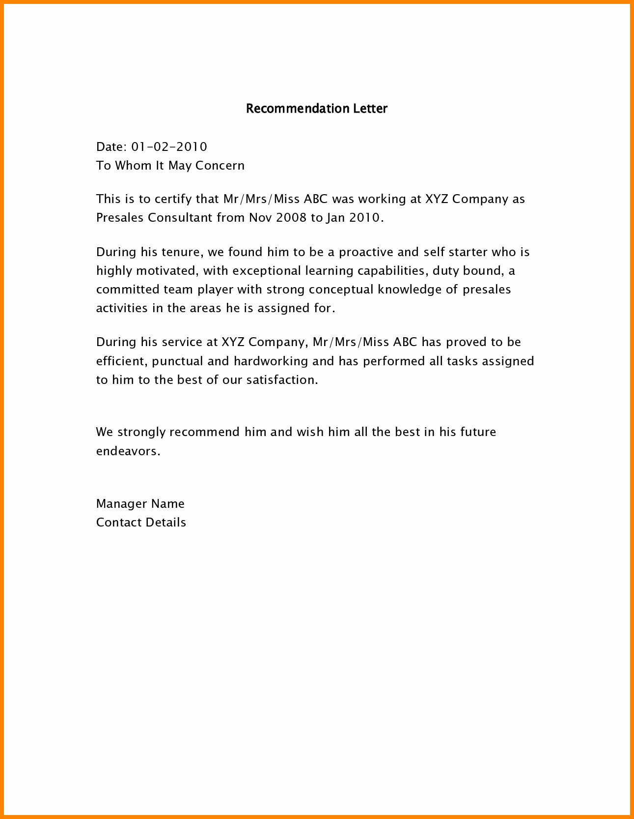 Employment Recommendation Letter Examples Lovely 5 Employee Re Mendation Letter Sample Letter Of Recommendation Reference Letter Employee Recommendation Letter