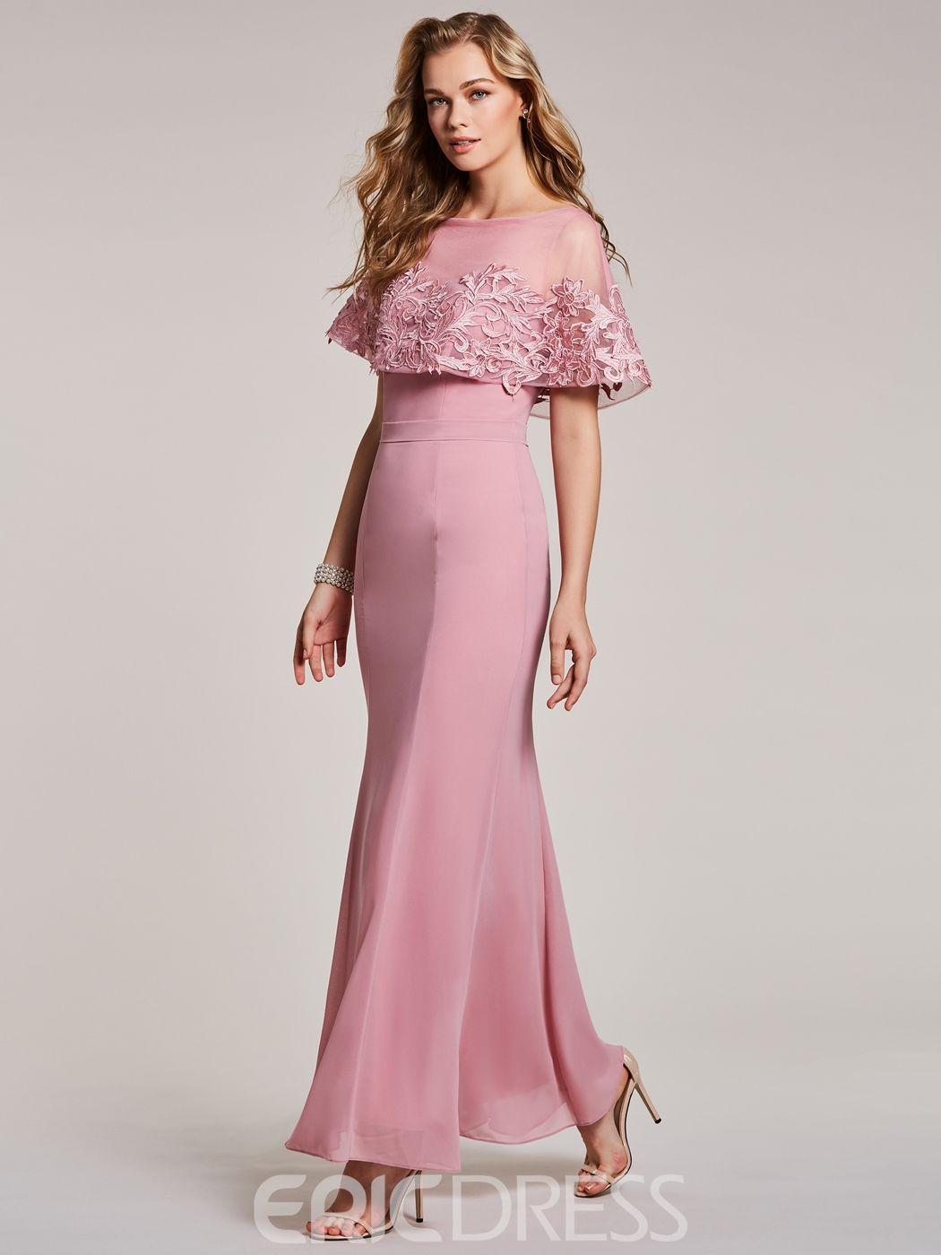 Bateau Neck Lace Appliques Mermaid Evening Dress | Jorge y Boda