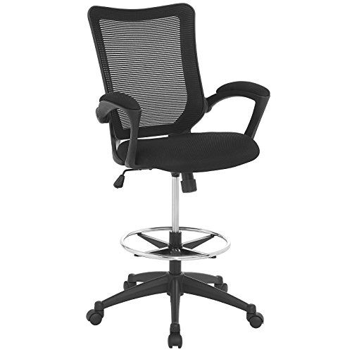 modway project drafting chair in black reception desk chair tall