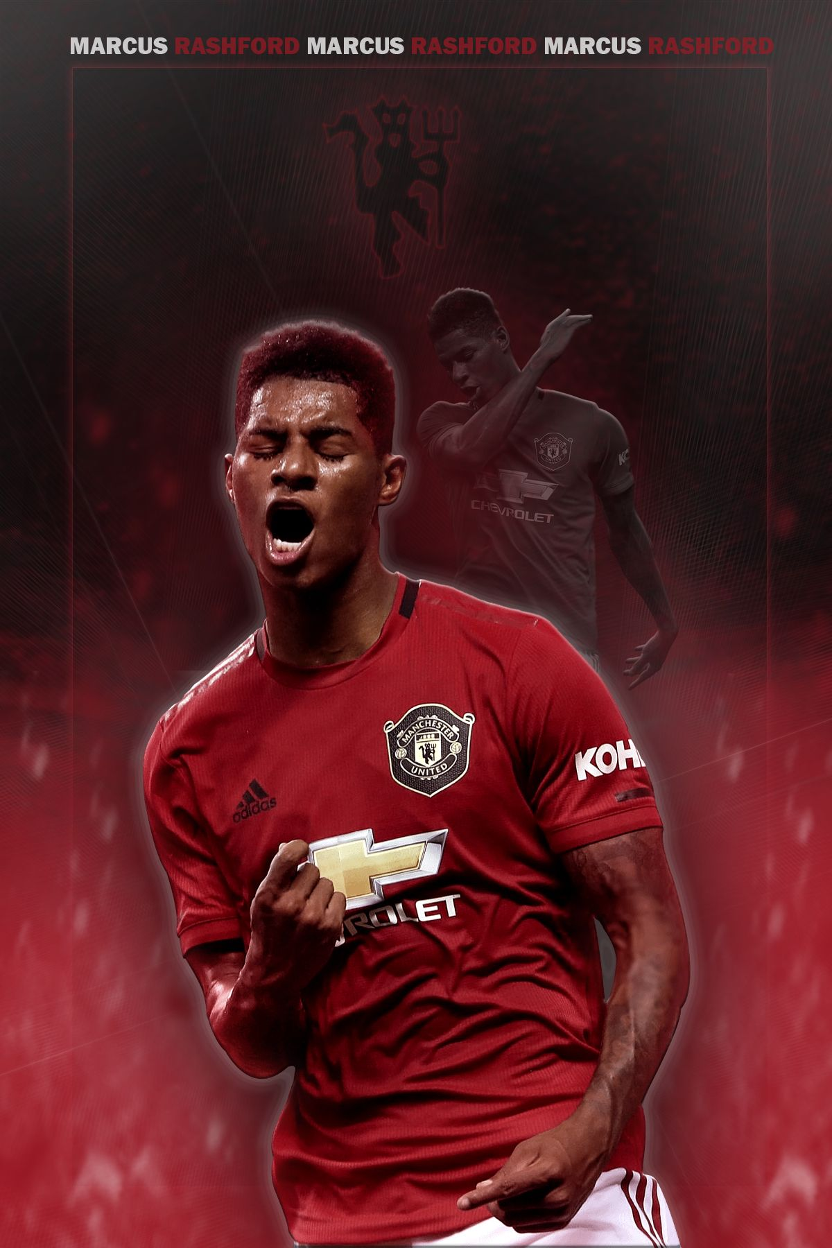 Marcus Rashford Manchester United In 2020 Football Poster Manchester United Poster Manchester United Wallpaper