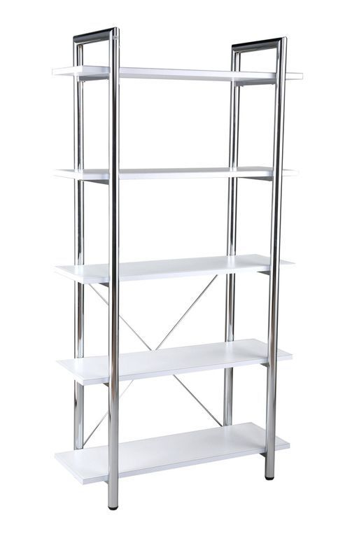 Euro Style Laurence 5 Shelf Unit In White Leather Chrome