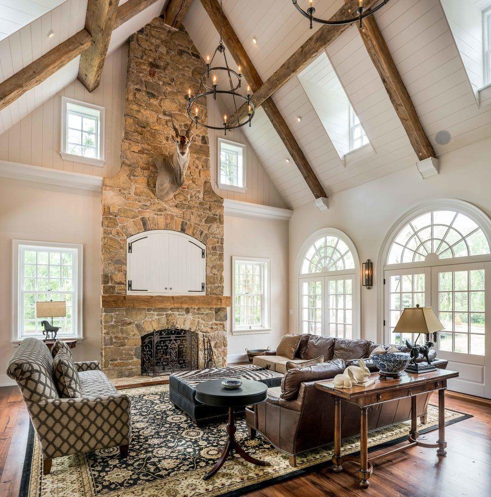 10 Modern Farmhouse Living Room Ideas: Vaulted Ceiling Ideas Farmhouse Style #ceilingideas