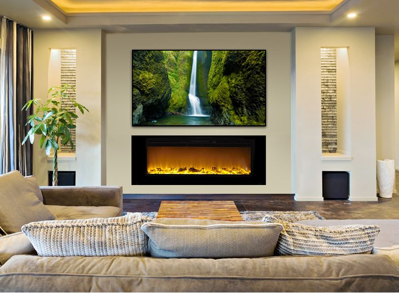 The Sideline60 Touchstone S 60 Inch Recessed Electric Fireplace With Heat In Black Recessed Electric Fireplace Modern Fireplace Living Room With Fireplace