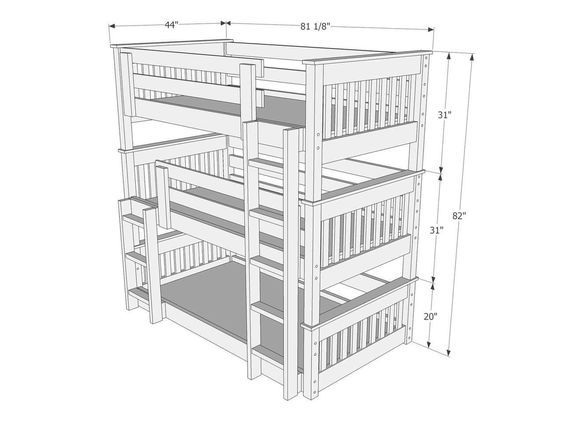 Dimensions of Triple Bunk Bed B63 | Triple bunk beds (& double