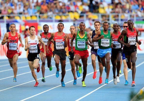 Aman Wote of Ethiopia, Nixon Kiplimo Chepseba of Kenya Ayanleh Souleiman of Djibouti compete in the Men's 1500 metres semi finals during Day Seven of the 14th IAAF World Athletics Championships Moscow 2013 at Luzhniki Stadium at Luzhniki Stadium on August 16, 2013 in Moscow, Russia.