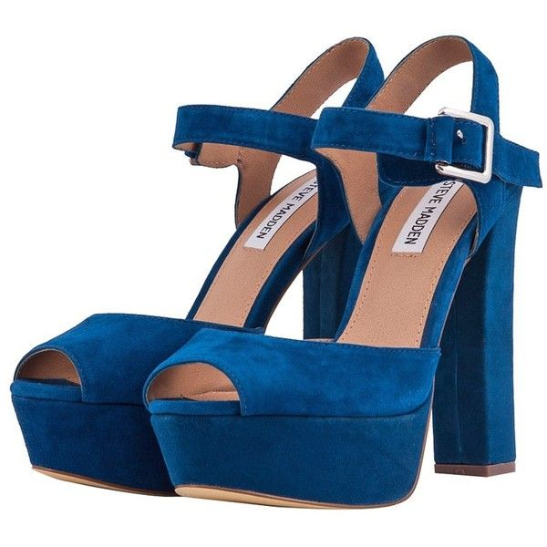 959226f6e79 Steve Madden Blue Jillyy Platform Sandals ( 105) ❤ liked on Polyvore  featuring shoes