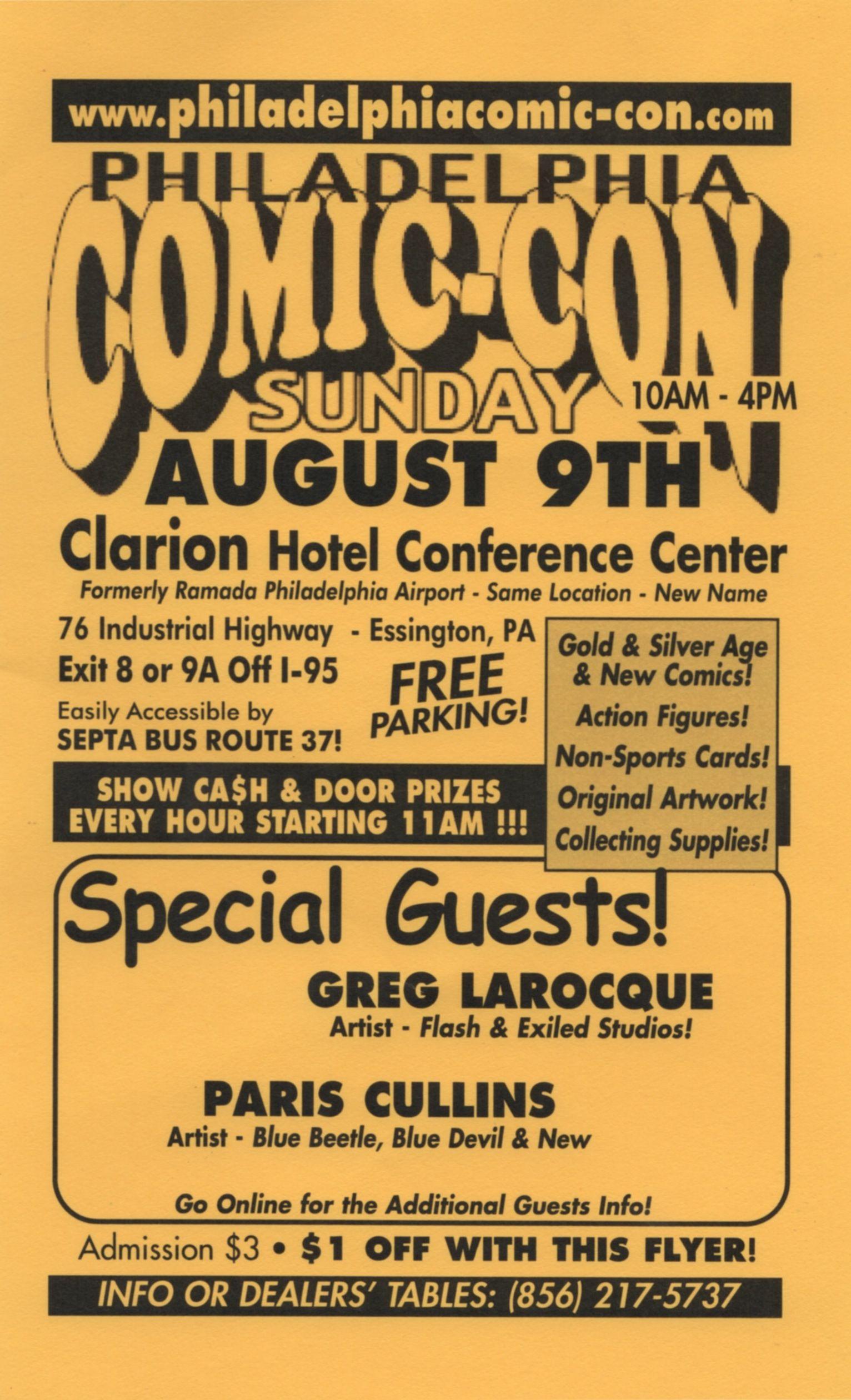 Handbill for Philadelphia Comic-con Sunday, August 9, 2015