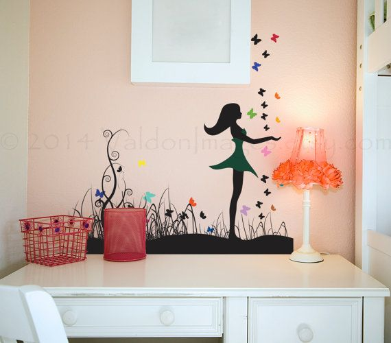 Girl with butterflies wall decal decal wall by ...