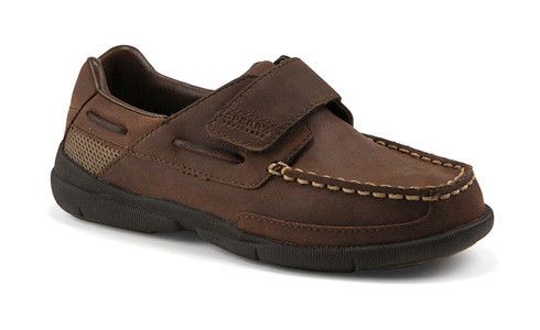 Sperry Topsider: Charter H Sometimes you just gotta stick with a classic leather boat shoe by Sperry Topsider- The Charter boat shoe by Sperry Top-Sider is super comfortable because it is lightweight and flexible making it the casual dress shoe boys will love to wear. Whether dressing up or down rubber pods on the outsole provide traction and durability while a hook-and-loop closure ensures a secure fit.
