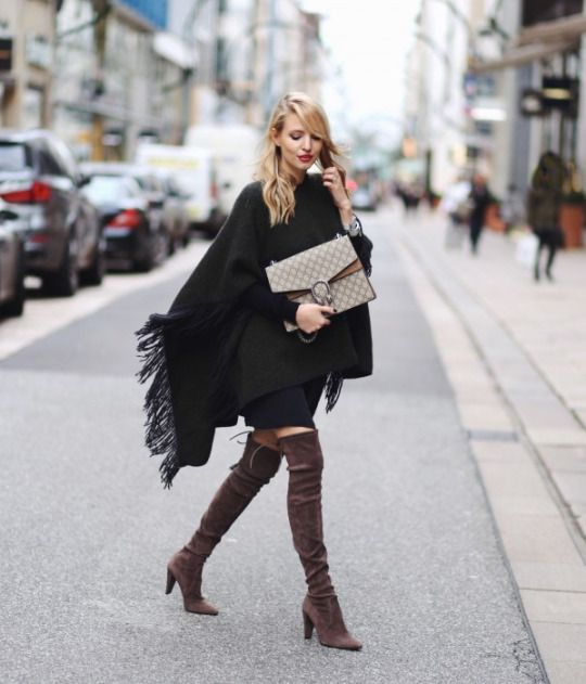 0d2147ed76f The poncho trend is another which goes brilliantly with over the knee boots.  Leonie Sophie wears a fringed green poncho with patent brown boots and a ...