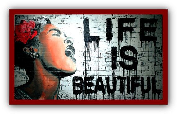 Life is Beautiful Banksy Canvas Art More Color /& Style /& Size