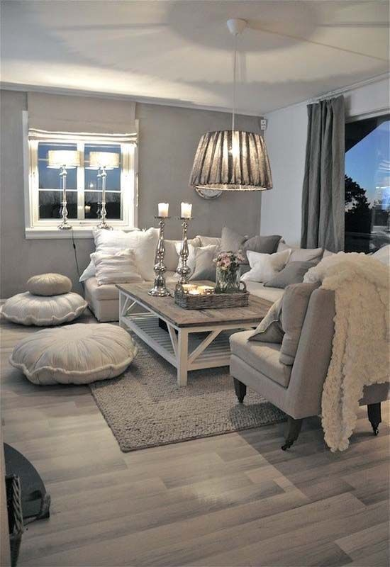 Neutral Living Room Grey Walls Calming Colors Furniture Wood Coffee Table Floor Area Rug Farmhouse Windows Shabby Chic