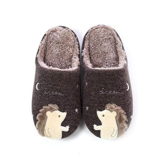 Photo of Winter Warm Home Women Fur Slippers Cute Fox Unicorn Bear Animals Indoor Cartoon Ladies Slippers Soft Memory Foam Couples Shoes – Hedgehog Brown / 43
