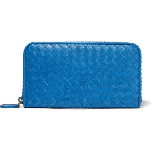 Bottega Veneta Intrecciato leather continental wallet ($760) ❤ liked on Polyvore featuring bags, wallets, blue, zipper wallet, leather tote, blue leather tote, leather tote handbags and blue leather wallet