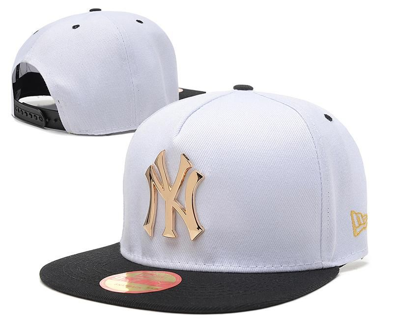 9ed7b897763 Men s New York Yankees New Era 9Fifty Gold Metal NY Logo A-Frame Baseball Snapback  Hat - White   Black