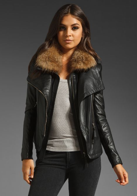 MACKAGE Modern Leather Jora Jacket with Fur Collar in Black ...