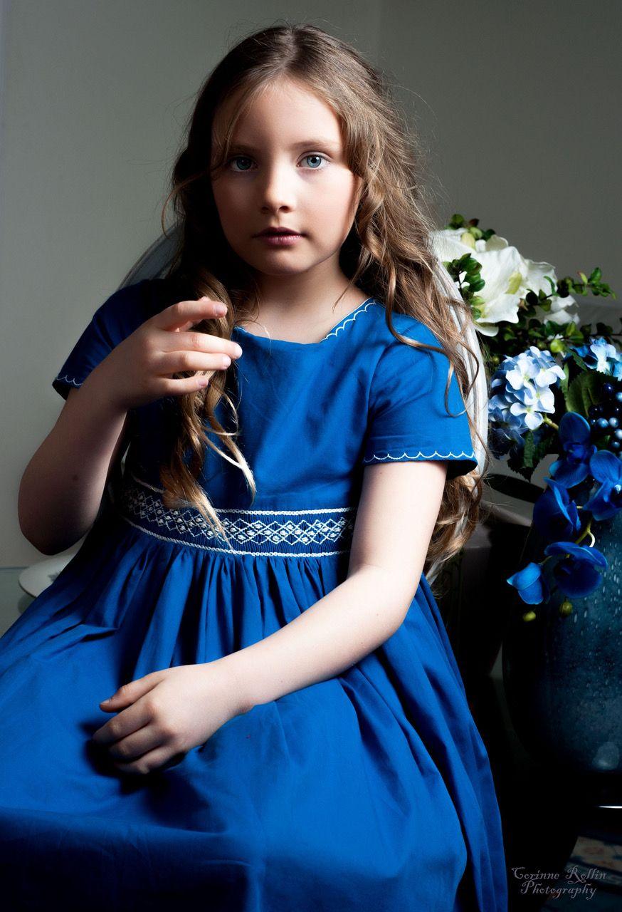 Beautiful blue handmade smocked dress for girls www.ajakely.co.uk ...