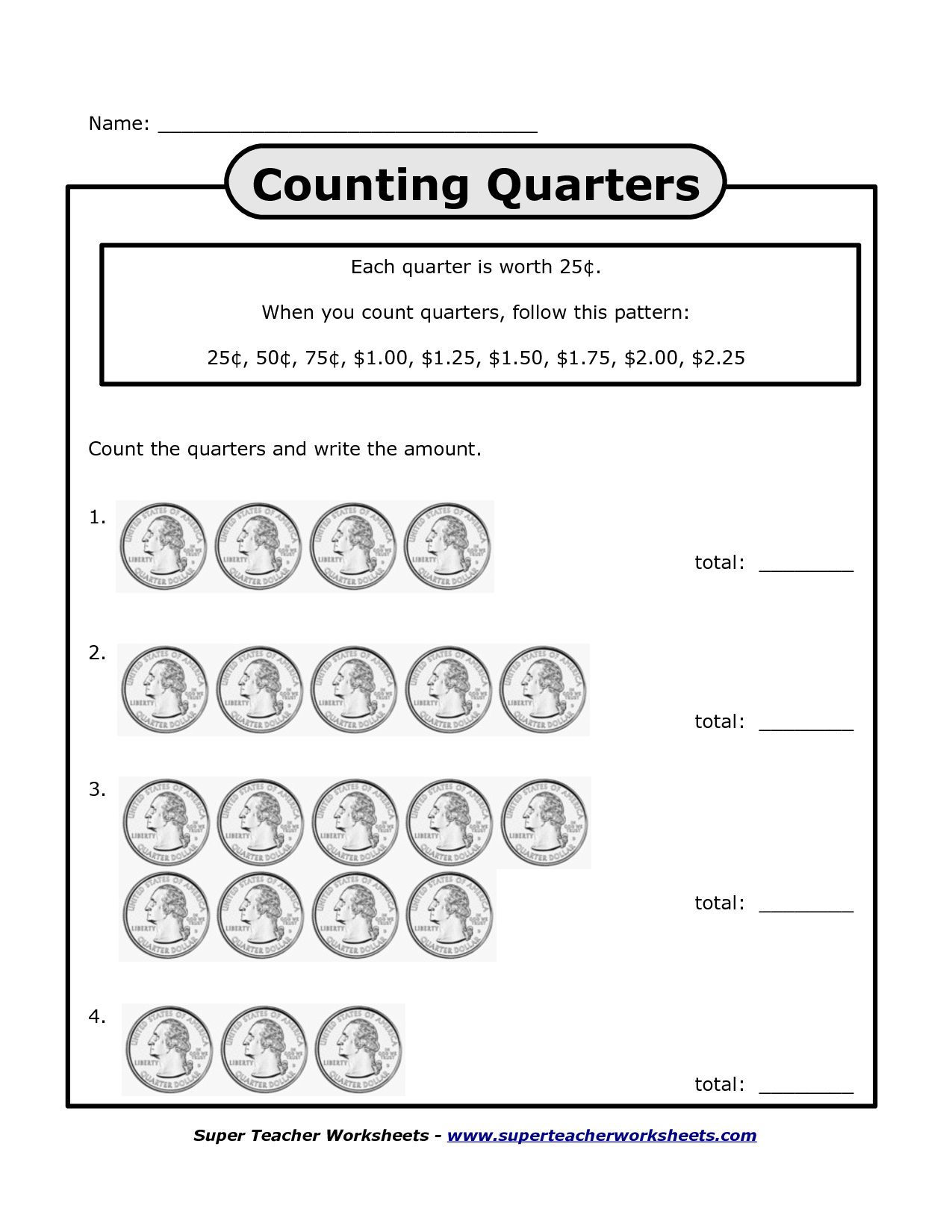 Simple worksheet practicing counting quarters – Counting Quarters Worksheet