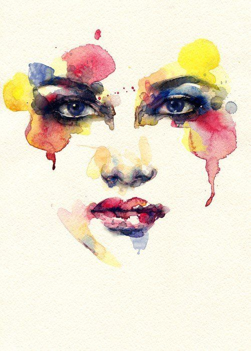 Beautiful Woman Face Watercolor Illustration Wall Mural Pixers