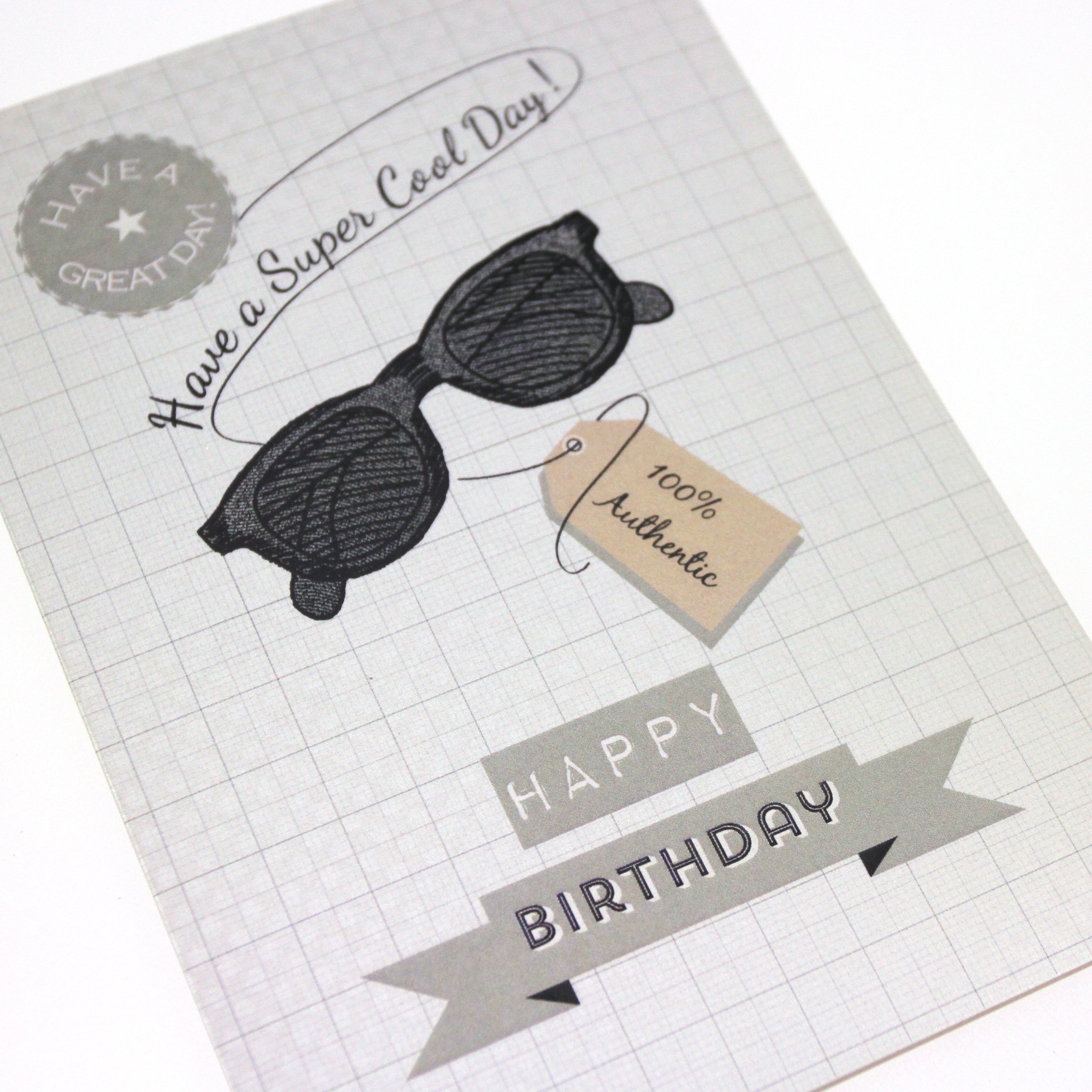 Mens printed birthday card retro vintage hipster tag sunglasses