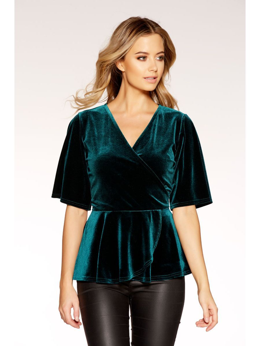 48f34125dcb Green Velvet Wrap Front 3 4 Sleeve Top - Quiz Clothing