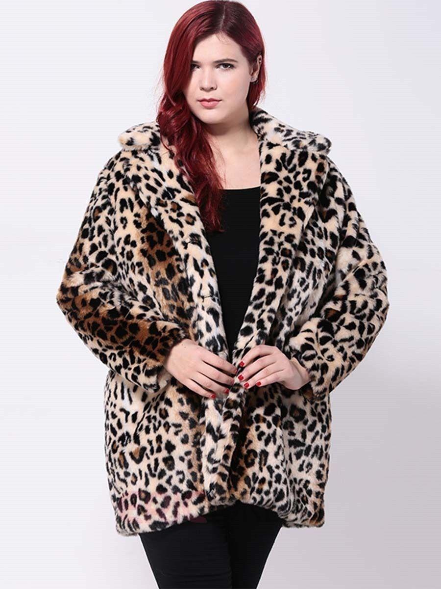 Ericdress Loose Plus Size Leopard Coat Coats Coat Fur Coat Leopard Coat [ 1200 x 900 Pixel ]