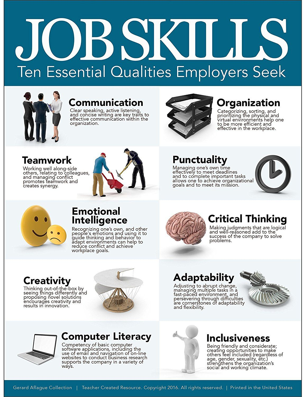 Amazon Com Job Skills Poster Ten Essential Qualities Employers Seek Teacher Created 18x24 Office Products Computer Literacy Ten Skills