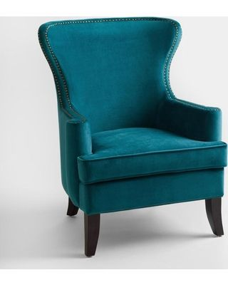 Pacific Blue Elliott Wingback Chair Fabric By World Market From