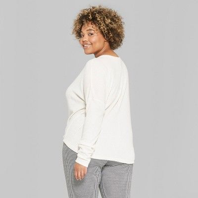 e01801ac794a2 Women s Plus Size Striped Long Sleeve Oversize Thermal Tie Front Top - Wild  Fable White 2X