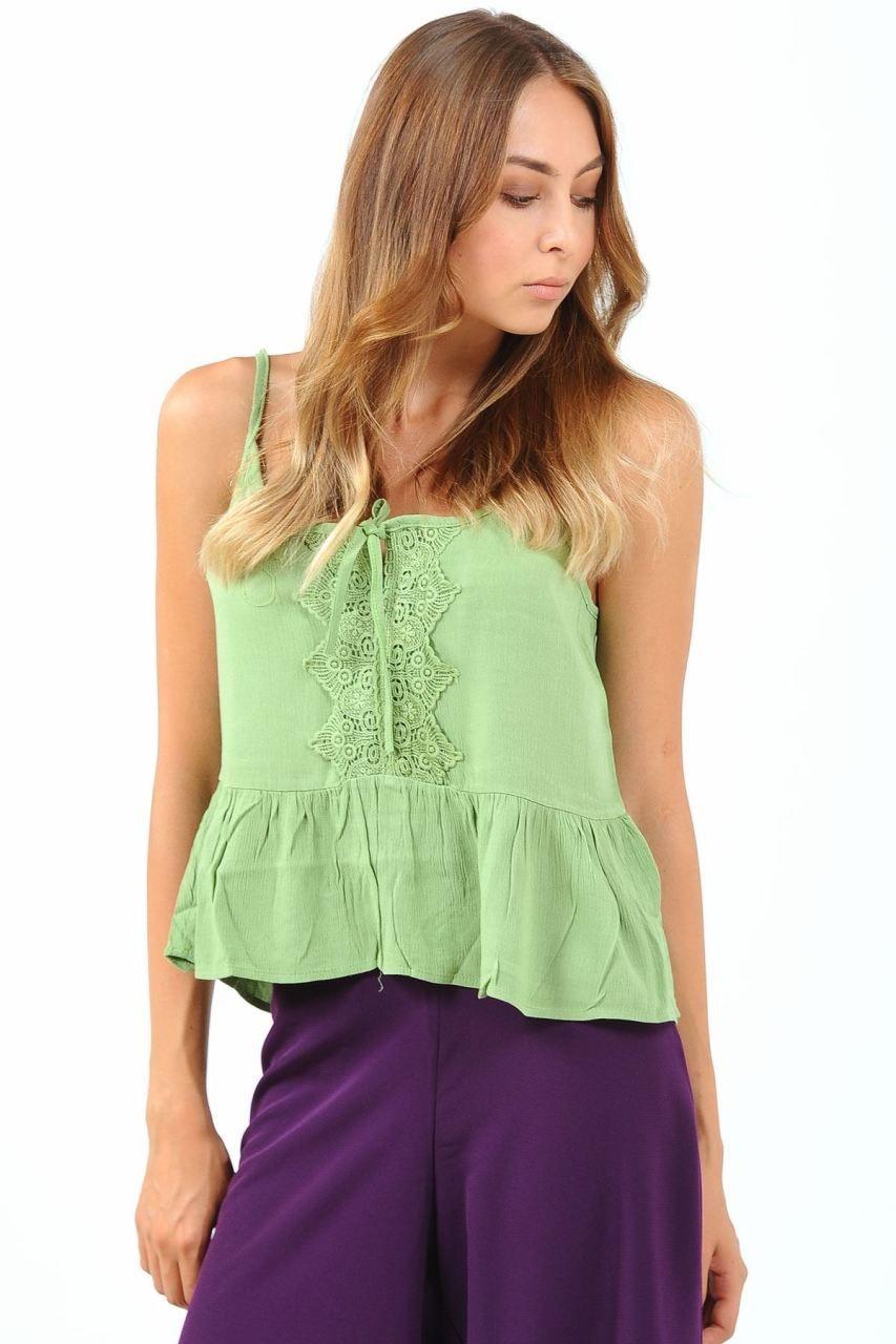 Yeşil ve beyaz örgü bayan bluz