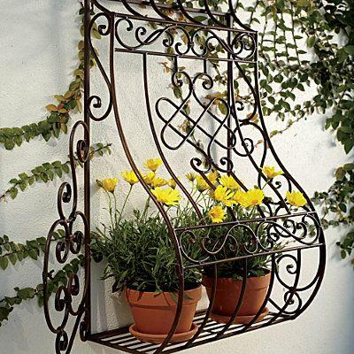 rejas* para mi jardín. metal wall planter   herrerÍa   pinterest
