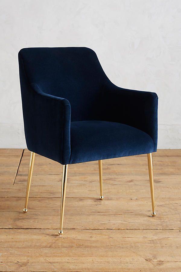 Anthropologie Arm Chair In Blue Velvet With Images Velvet