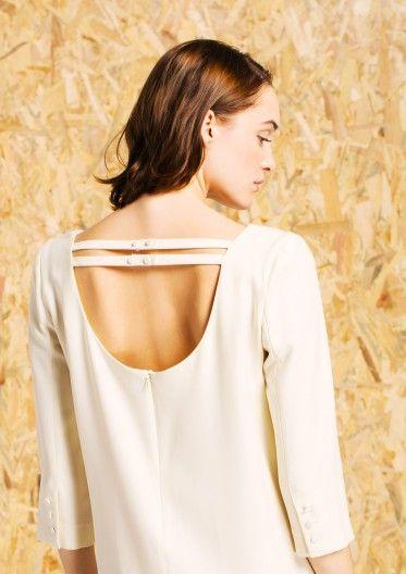 bas prix 20f5e 1fcaa Robe droite en viscose de laine écru | INSPIRATION COUTURE ...