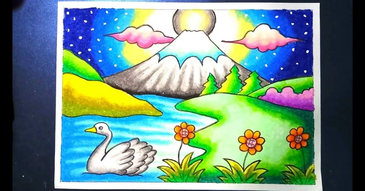 mewarnai pemandangan alam gunung fuji
