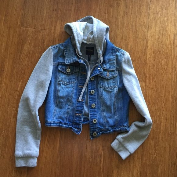 Fleece and Denim Jacket Button down front. Drawstring hoodie. Highway Jeans Jackets & Coats Jean Jackets