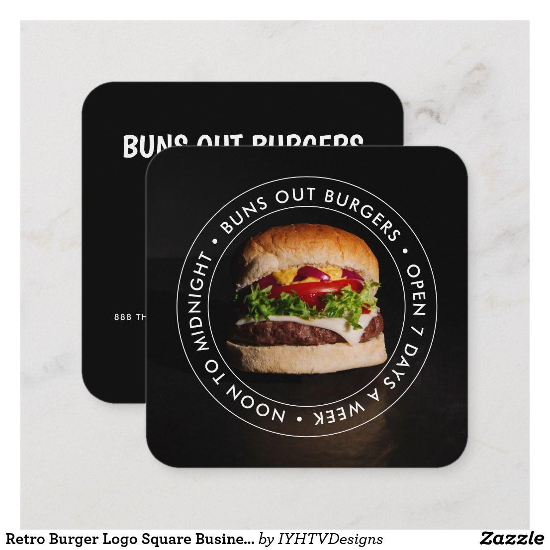 retro burger logo square business card